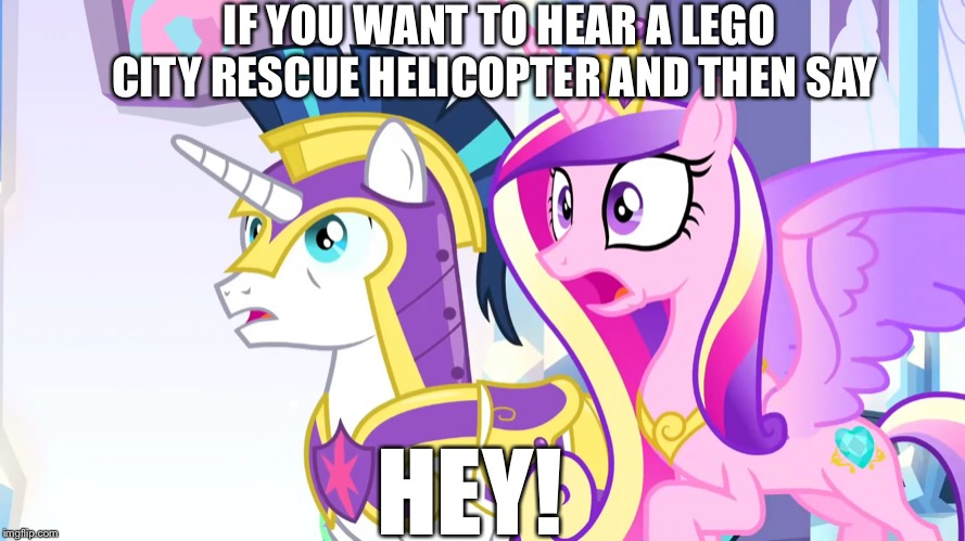 A man has fallen into the river in Lego City! | IF YOU WANT TO HEAR A LEGO CITY RESCUE HELICOPTER AND THEN SAY HEY! | image tagged in mlp fim,mlp meme,memes,lego,city,hey | made w/ Imgflip meme maker
