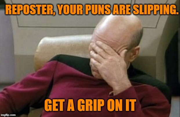 Captain Picard Facepalm Meme | REPOSTER, YOUR PUNS ARE SLIPPING. GET A GRIP ON IT | image tagged in memes,captain picard facepalm | made w/ Imgflip meme maker