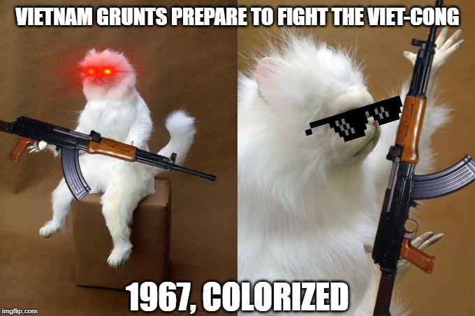 Vietnam War grunt meme |  VIETNAM GRUNTS PREPARE TO FIGHT THE VIET-CONG; 1967, COLORIZED | image tagged in vietnam,persian cat room guardian,memes,meme,funny meme,colorized | made w/ Imgflip meme maker