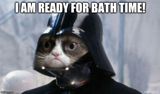 Grumpy Cat Star Wars | I AM READY FOR BATH TIME! | image tagged in memes,grumpy cat star wars,grumpy cat | made w/ Imgflip meme maker