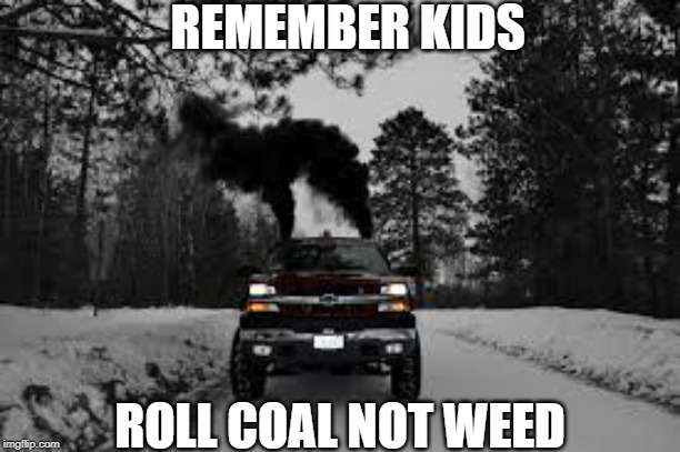 REMEMBER KIDS ROLL COAL NOT WEED | image tagged in roll coal not weed | made w/ Imgflip meme maker