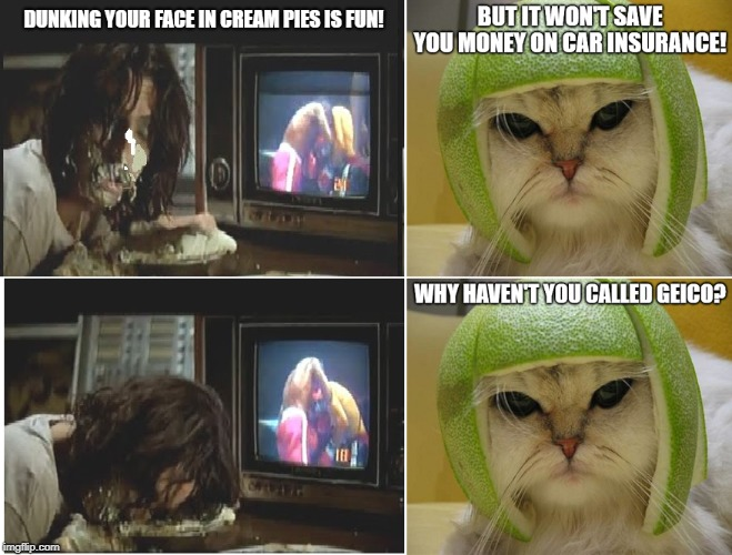 Alice Cooper and the Cat With the Lime Football Helmet | image tagged in alice cooper,cream pie,cat with lime football helmet,geico | made w/ Imgflip meme maker