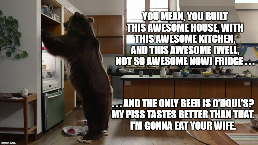 Bear opens fridge ... irritated homeowners only have O'Doul's Beer. | YOU MEAN, YOU BUILT THIS AWESOME HOUSE, WITH THIS AWESOME KITCHEN, AND THIS AWESOME (WELL, NOT SO AWESOME NOW) FRIDGE . . . . . . AND THE ON | image tagged in bear,o'doul's,trashed refrigerator,angst,bear prefers to eat man's wife than drink skunky beer | made w/ Imgflip meme maker
