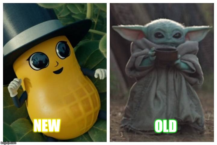 OLD NEW | image tagged in baby yoda | made w/ Imgflip meme maker