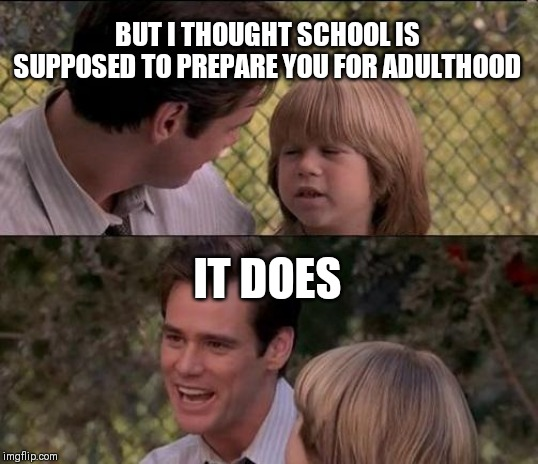 Thats Just Something X Say Meme | BUT I THOUGHT SCHOOL IS SUPPOSED TO PREPARE YOU FOR ADULTHOOD IT DOES | image tagged in memes,thats just something x say | made w/ Imgflip meme maker