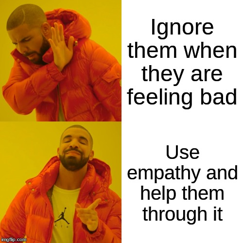Drake Hotline Bling |  Ignore them when they are feeling bad; Use empathy and help them through it | image tagged in memes,drake hotline bling | made w/ Imgflip meme maker