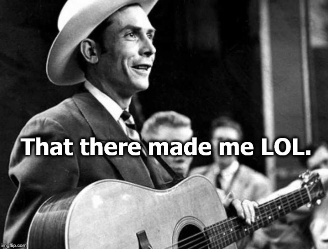 hank williams | That there made me LOL. | image tagged in hank williams | made w/ Imgflip meme maker