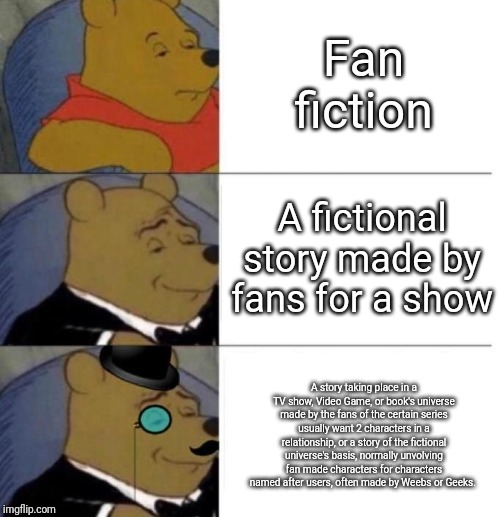 Fan Fiction |  Fan fiction; A fictional story made by fans for a show; A story taking place in a TV show, Video Game, or book's universe made by the fans of the certain series usually want 2 characters in a relationship, or a story of the fictional universe's basis, normally unvolving fan made characters for characters named after users, often made by Weebs or Geeks. | image tagged in fandom,fanfiction,shipping,nerds,geeks,weebs | made w/ Imgflip meme maker