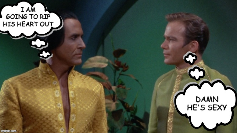 Opposing Thoughts | I AM GOING TO RIP HIS HEART OUT DAMN HE'S SEXY | image tagged in star trek kirk khan | made w/ Imgflip meme maker