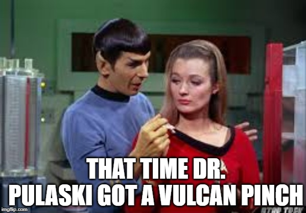 The Vulcan Touch | THAT TIME DR. PULASKI GOT A VULCAN PINCH | image tagged in star trek,spock | made w/ Imgflip meme maker