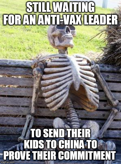 Waiting Skeleton Meme | STILL WAITING FOR AN ANTI-VAX LEADER TO SEND THEIR KIDS TO CHINA TO PROVE THEIR COMMITMENT | image tagged in memes,waiting skeleton | made w/ Imgflip meme maker