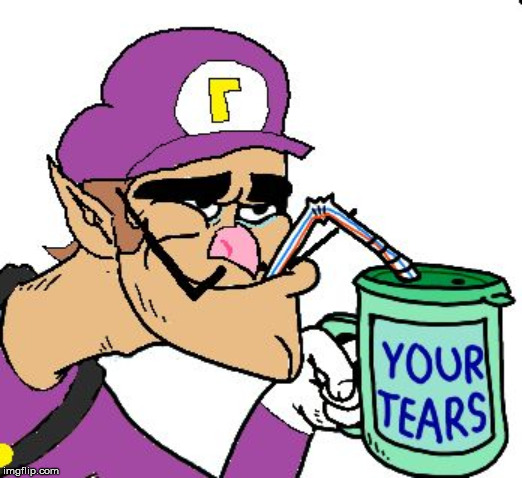 Waluigi Drinking Tears | image tagged in waluigi drinking tears | made w/ Imgflip meme maker