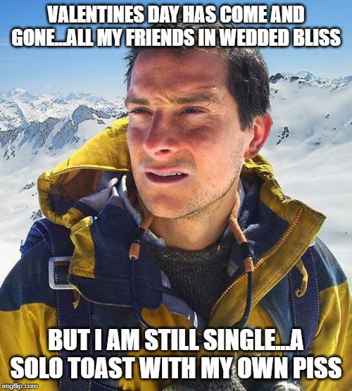 Bear Grylls |  VALENTINES DAY HAS COME AND GONE...ALL MY FRIENDS IN WEDDED BLISS; BUT I AM STILL SINGLE...A SOLO TOAST WITH MY OWN PISS | image tagged in memes,bear grylls | made w/ Imgflip meme maker