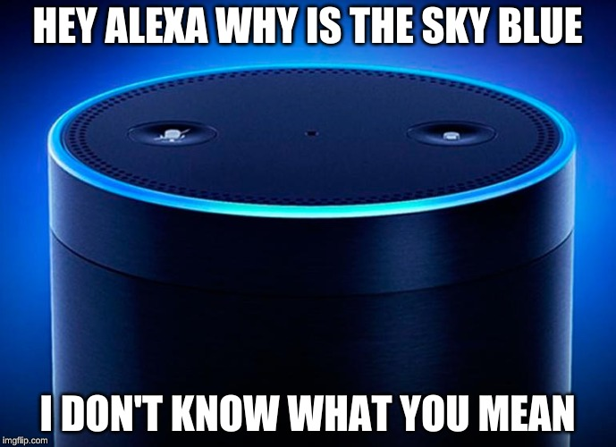 HEY ALEXA WHY IS THE SKY BLUE; I DON'T KNOW WHAT YOU MEAN | image tagged in alexa | made w/ Imgflip meme maker