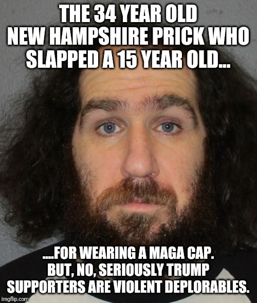 A clean cute lovable liberal...who slapped a 15 year old for wearing a MAGA cap. |  THE 34 YEAR OLD NEW HAMPSHIRE PRICK WHO SLAPPED A 15 YEAR OLD... ....FOR WEARING A MAGA CAP. BUT, NO, SERIOUSLY TRUMP SUPPORTERS ARE VIOLENT DEPLORABLES. | image tagged in asshole,liberal logic,special kind of stupid,maga,democrats,president trump | made w/ Imgflip meme maker