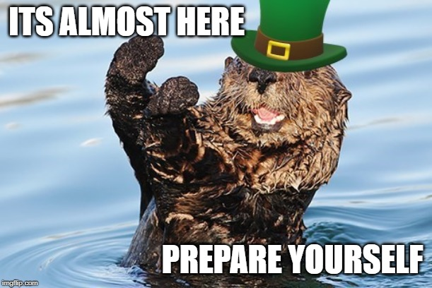 Fighting Irish Otter | ITS ALMOST HERE PREPARE YOURSELF | image tagged in funny memes,otter,st patrick's day | made w/ Imgflip meme maker