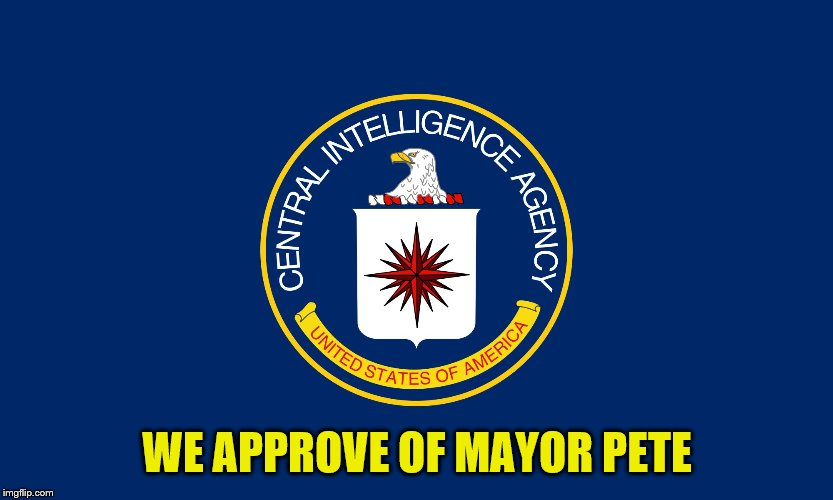 Central Intelligence Agency CIA | WE APPROVE OF MAYOR PETE | image tagged in central intelligence agency cia | made w/ Imgflip meme maker