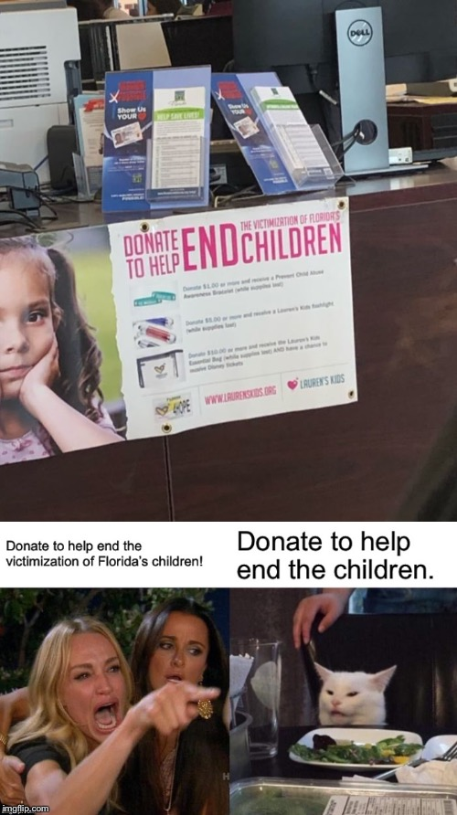 END the children!? | image tagged in memes,funny,woman yelling at cat,sign fail,children,florida | made w/ Imgflip meme maker