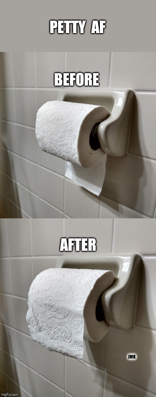 Do it right!! lol | PETTY  AF AFTER BEFORE JMR | image tagged in petty,toilet paper,ocd | made w/ Imgflip meme maker