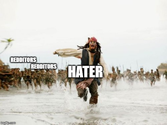 Jack Sparrow Being Chased | REDDITORS                                          REDDITORS HATER | image tagged in memes,jack sparrow being chased | made w/ Imgflip meme maker