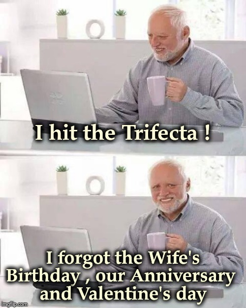 Permanently in the Doghouse | I hit the Trifecta ! I forgot the Wife's Birthday , our Anniversary  and Valentine's day | image tagged in memes,hide the pain harold,you give love a bad name,still a better love story than twilight,thoroughly modern marriage | made w/ Imgflip meme maker