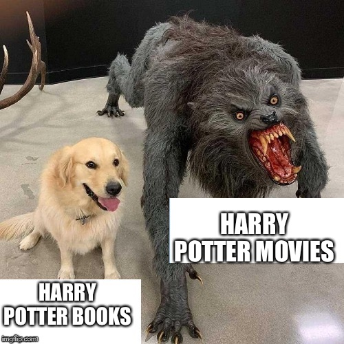 Monster dog |  HARRY POTTER MOVIES; HARRY POTTER BOOKS | image tagged in monster dog,memes,harry potter meme,harry potter,books,movies | made w/ Imgflip meme maker