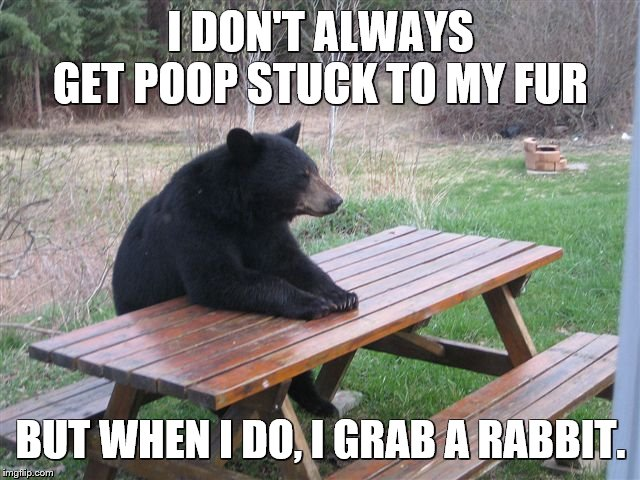 The Most Interesting Bear in the World |  I DON'T ALWAYS GET POOP STUCK TO MY FUR; BUT WHEN I DO, I GRAB A RABBIT. | image tagged in bear table,bears,rabbits,toilet paper,the most interesting man in the world,eddie murphy | made w/ Imgflip meme maker
