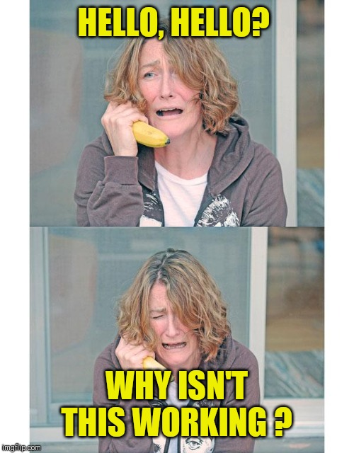 Bad news banana phone | HELLO, HELLO? WHY ISN'T THIS WORKING ? | image tagged in bad news banana phone | made w/ Imgflip meme maker