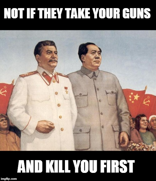 Stalin and Mao | NOT IF THEY TAKE YOUR GUNS AND KILL YOU FIRST | image tagged in stalin and mao | made w/ Imgflip meme maker