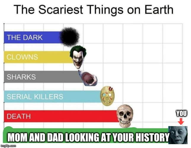 scary |  YOU; MOM AND DAD LOOKING AT YOUR HISTORY | image tagged in scariest things on earth,no,fun,meme,history | made w/ Imgflip meme maker