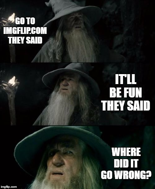 I feel it went down hill when they started to add all these category's. I still post but, nothing like I used to. |  GO TO IMGFLIP.COM THEY SAID; IT'LL BE FUN THEY SAID; WHERE DID IT GO WRONG? | image tagged in memes,confused gandalf | made w/ Imgflip meme maker