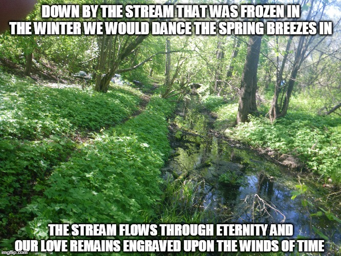 Upon the Winds of Time | DOWN BY THE STREAM THAT WAS FROZEN IN THE WINTER WE WOULD DANCE THE SPRING BREEZES IN THE STREAM FLOWS THROUGH ETERNITY AND OUR LOVE REMAINS | image tagged in streams,winter,spring,love,winds of time,dance | made w/ Imgflip meme maker