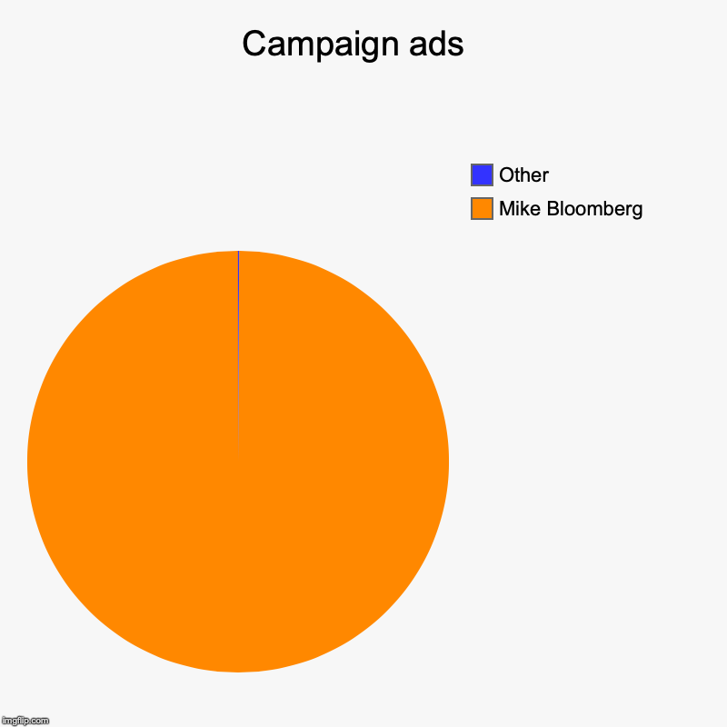 Campaign ads  | Mike Bloomberg , Other | image tagged in charts,pie charts | made w/ Imgflip chart maker