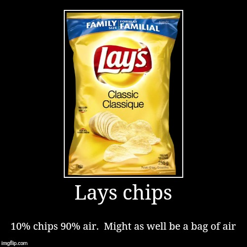 Lays chips | 10% chips 90% air.  Might as well be a bag of air | image tagged in funny,demotivationals | made w/ Imgflip demotivational maker
