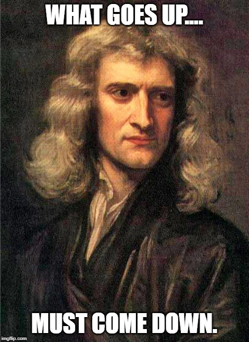 Isaac Newton  | WHAT GOES UP.... MUST COME DOWN. | image tagged in isaac newton | made w/ Imgflip meme maker