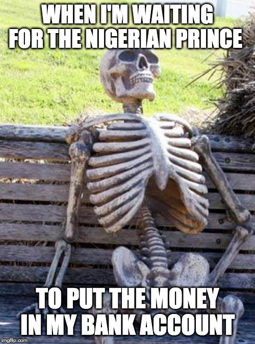 Waiting Skeleton | WHEN I'M WAITING FOR THE NIGERIAN PRINCE TO PUT THE MONEY IN MY BANK ACCOUNT | image tagged in memes,waiting skeleton | made w/ Imgflip meme maker