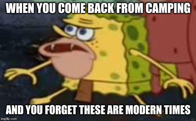 Spongegar |  WHEN YOU COME BACK FROM CAMPING; AND YOU FORGET THESE ARE MODERN TIMES | image tagged in memes,spongegar | made w/ Imgflip meme maker