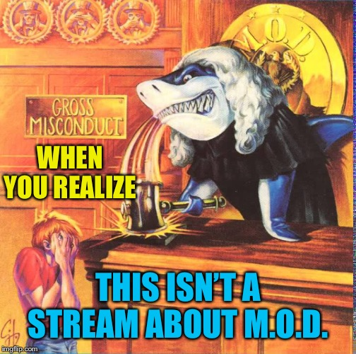 Not in a mosh | WHEN YOU REALIZE THIS ISN'T A STREAM ABOUT M.O.D. | image tagged in imgflip mods,mod,thrash metal | made w/ Imgflip meme maker