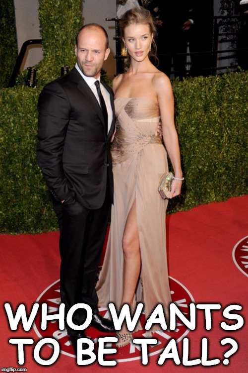 Jason Statham and Rosie Huntington-Whiteley |  WHO WANTS TO BE TALL? | image tagged in short,man,tall,woman | made w/ Imgflip meme maker