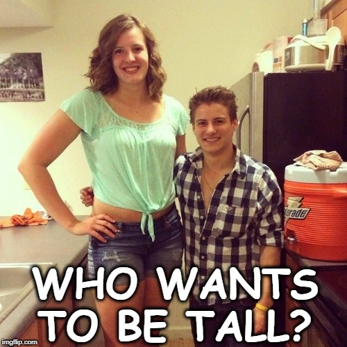 When was the last time you looked this happy? |  WHO WANTS TO BE TALL? | image tagged in tall,woman,short,man | made w/ Imgflip meme maker