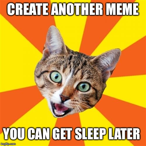 Bad Advice Cat |  CREATE ANOTHER MEME; YOU CAN GET SLEEP LATER | image tagged in memes,bad advice cat | made w/ Imgflip meme maker