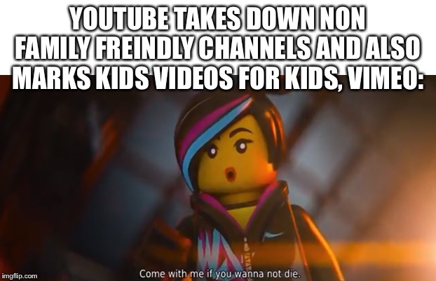 I love that I thought of this xD | YOUTUBE TAKES DOWN NON FAMILY FREINDLY CHANNELS AND ALSO MARKS KIDS VIDEOS FOR KIDS, VIMEO: | image tagged in youtube,dank memes,2020,lego,the lego movie,funny memes | made w/ Imgflip meme maker