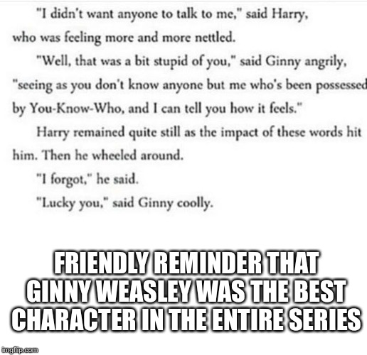I love ginny | FRIENDLY REMINDER THAT GINNY WEASLEY WAS THE BEST CHARACTER IN THE ENTIRE SERIES | made w/ Imgflip meme maker