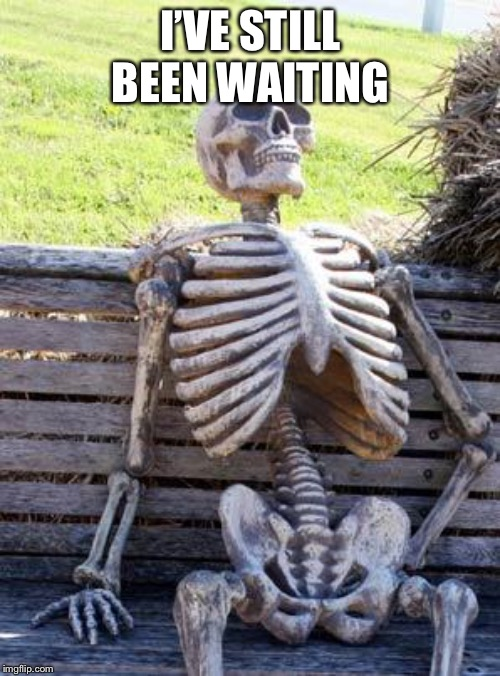 I'VE STILL BEEN WAITING | image tagged in memes,waiting skeleton | made w/ Imgflip meme maker