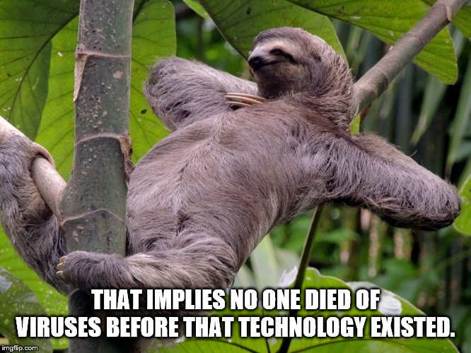 THAT IMPLIES NO ONE DIED OF VIRUSES BEFORE THAT TECHNOLOGY EXISTED. | image tagged in lazy sloth | made w/ Imgflip meme maker