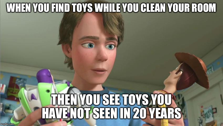 Toy Story Andy |  WHEN YOU FIND TOYS WHILE YOU CLEAN YOUR ROOM; THEN YOU SEE TOYS YOU HAVE NOT SEEN IN 20 YEARS | image tagged in toy story andy | made w/ Imgflip meme maker