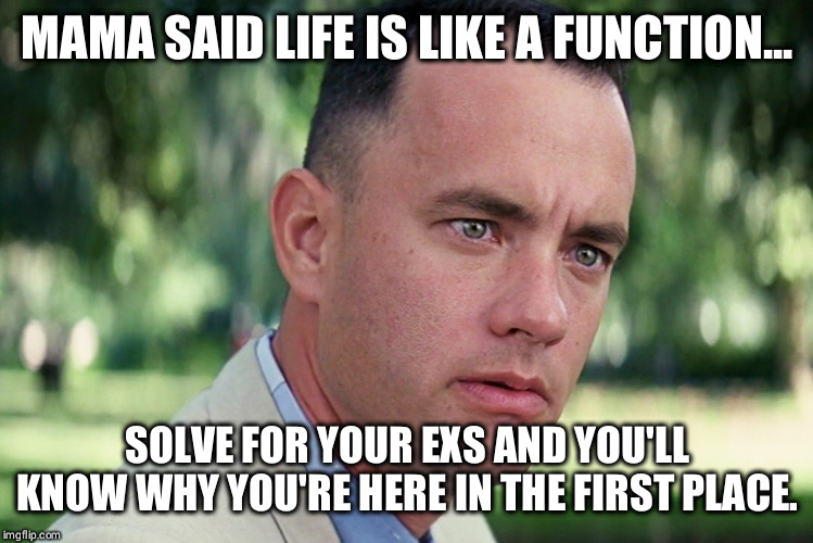 Maths R Hard... | MAMA SAID LIFE IS LIKE A FUNCTION... SOLVE FOR YOUR EXS AND YOU'LL KNOW WHY YOU'RE HERE IN THE FIRST PLACE. | image tagged in and just like that,math,gump,mama said,forrest | made w/ Imgflip meme maker