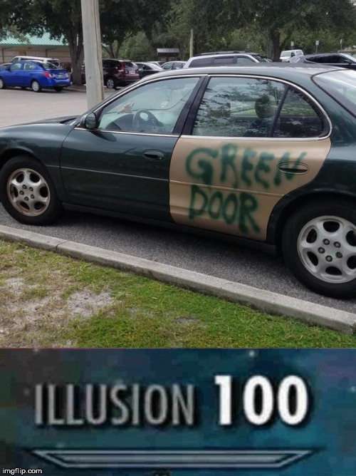 image tagged in illusion 100,car,green,door,paint | made w/ Imgflip meme maker