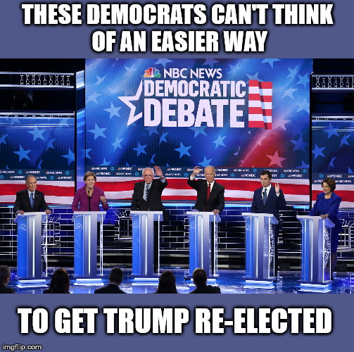 THESE DEMOCRATS CAN'T THINK  OF AN EASIER WAY; TO GET TRUMP RE-ELECTED | image tagged in donald trump,trump 2020,crying democrats | made w/ Imgflip meme maker