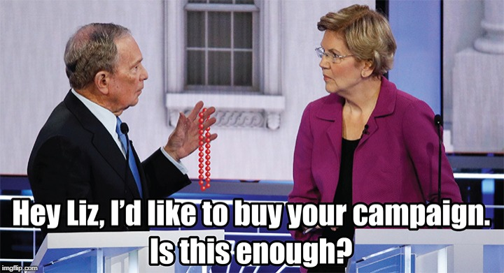 Oooo...SHINY! | image tagged in elizabeth warren,mike bloomberg,memes | made w/ Imgflip meme maker